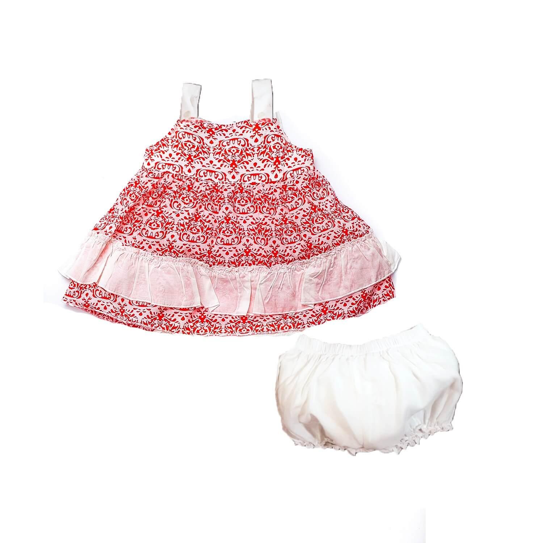 Kız Bebek Elbise Şort Takım Mercan
