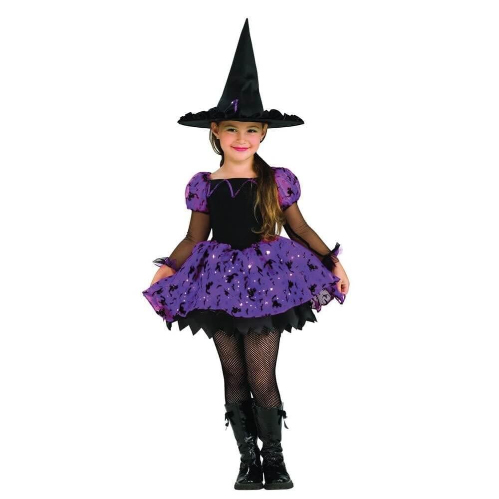 Cadılar Bayramı Işıklı Çocuk Cadı Kostümü Mor