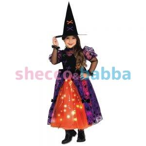 Cadılar Bayramı Işıklı Sevimli Cadı Kostümü