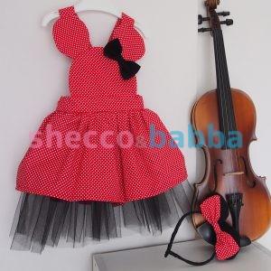 Kırmızı Puantiyeli Çocuk Elbisesi ve Tacı