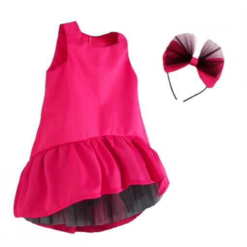 Kız Çocuk Elbise Taç Takım Fuşya