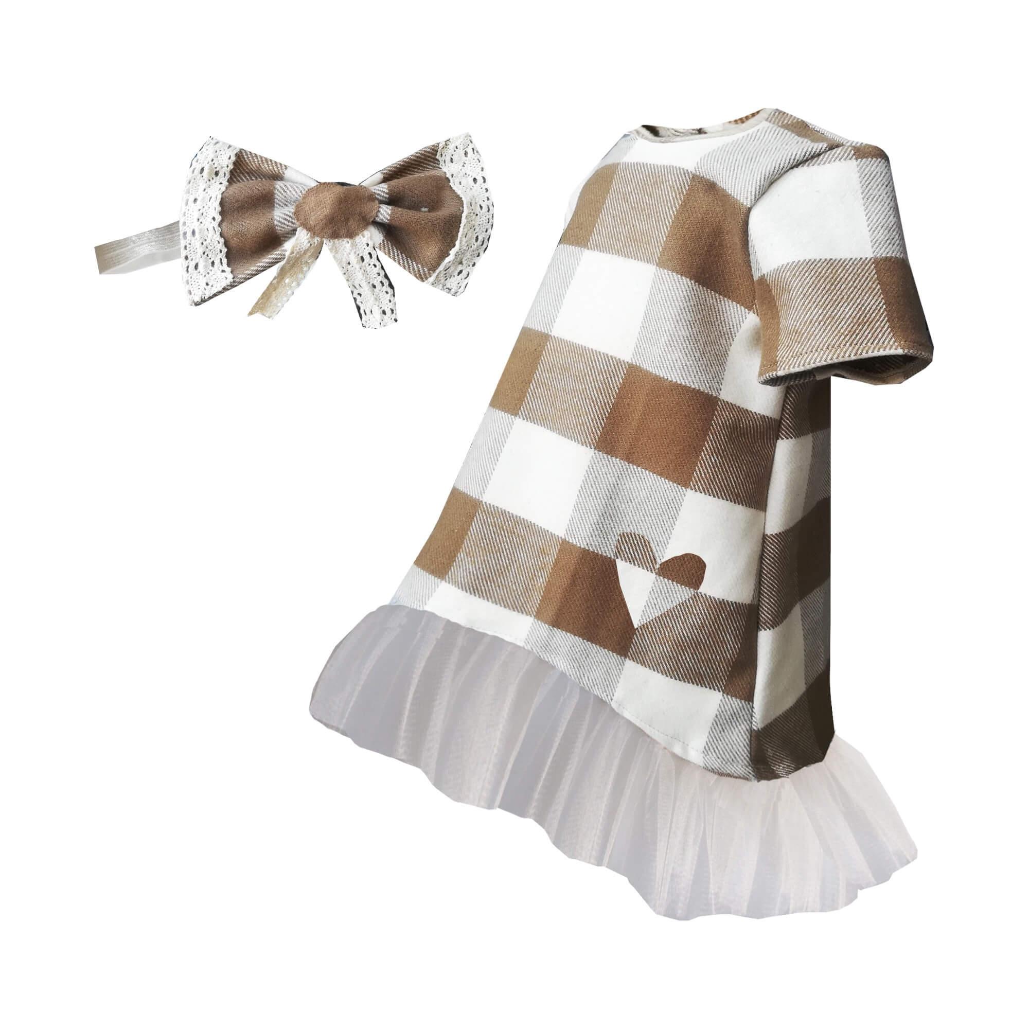 Kız Çocuk Elbise Bandana Takım