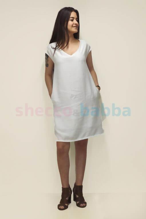 Kadın Beyaz Elbise Anne çocuk kombin