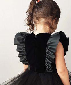 Kız Çocuk Deri Detaylı Tütü Elbise