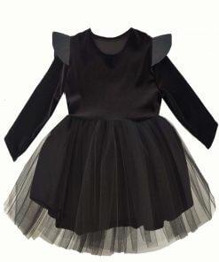 Kız Çocuk Deri Detaylı Tütü Siyah Elbise