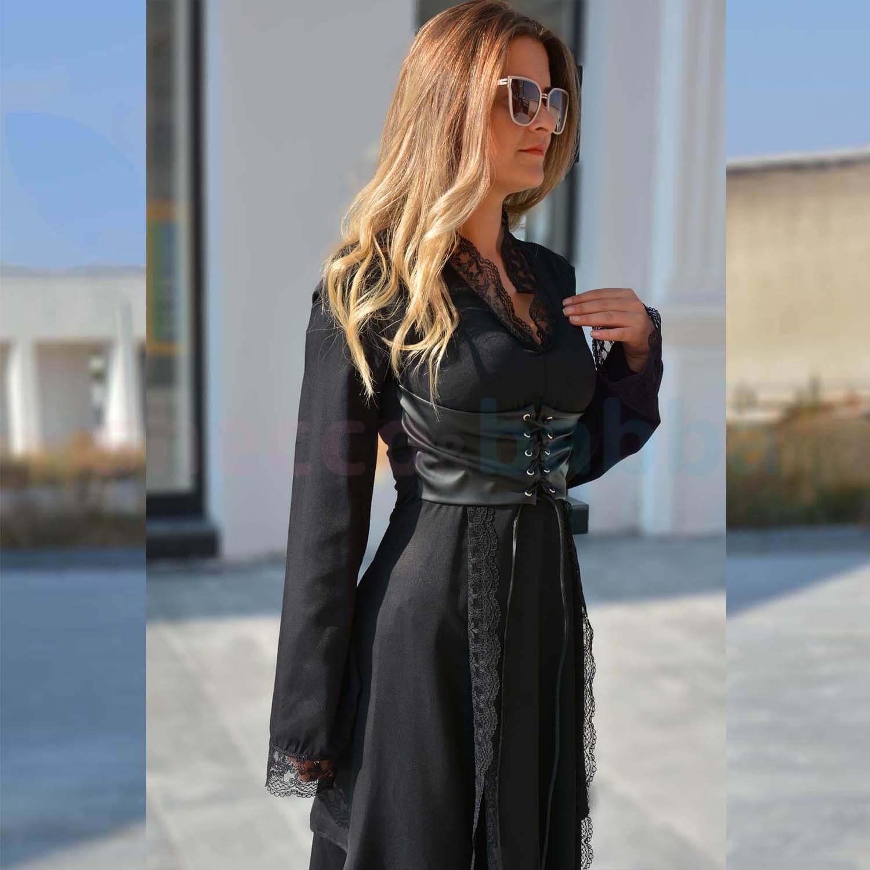Siyah Kadın Elbise Deri Korse ve Dantel Detaylı