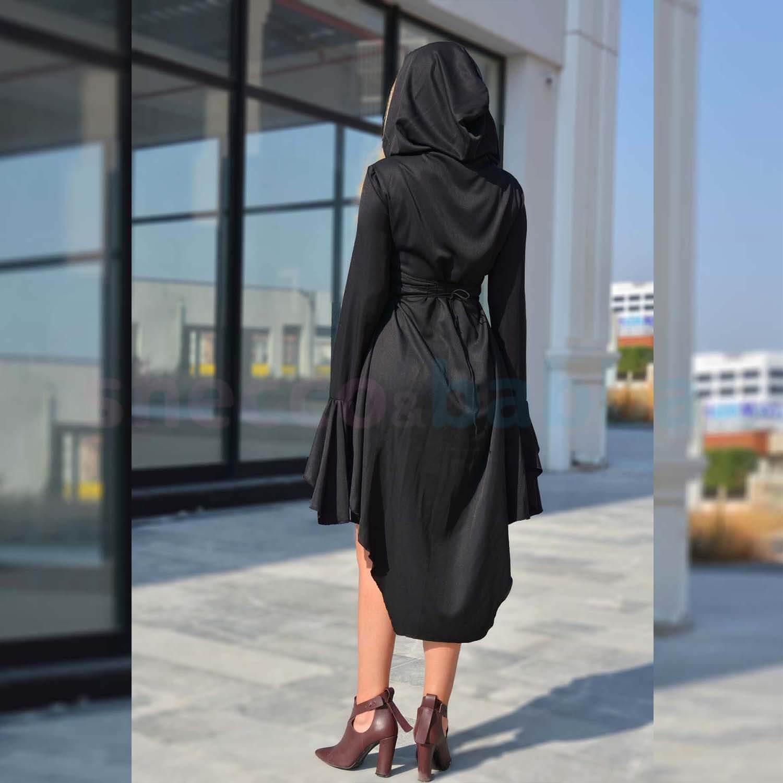 Siyah Kadın Elbise Kapüşonlu Asimetrik Kesim Belden Bağlamalı