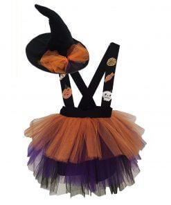 kız Çocuk Cadı Kostümü ve Cadı Şapkası