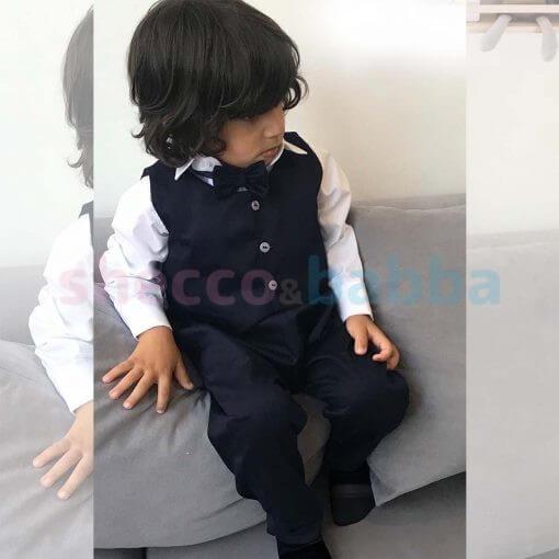 Harem Pantolon Yelek Papyon Takım Lacivert