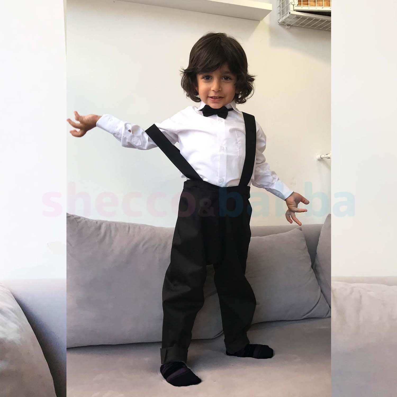 Harem Pantolon Yelek Papyon Takım Siyah